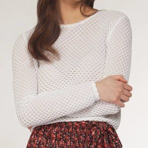 Dex scalloped cropped textured white sweater top S